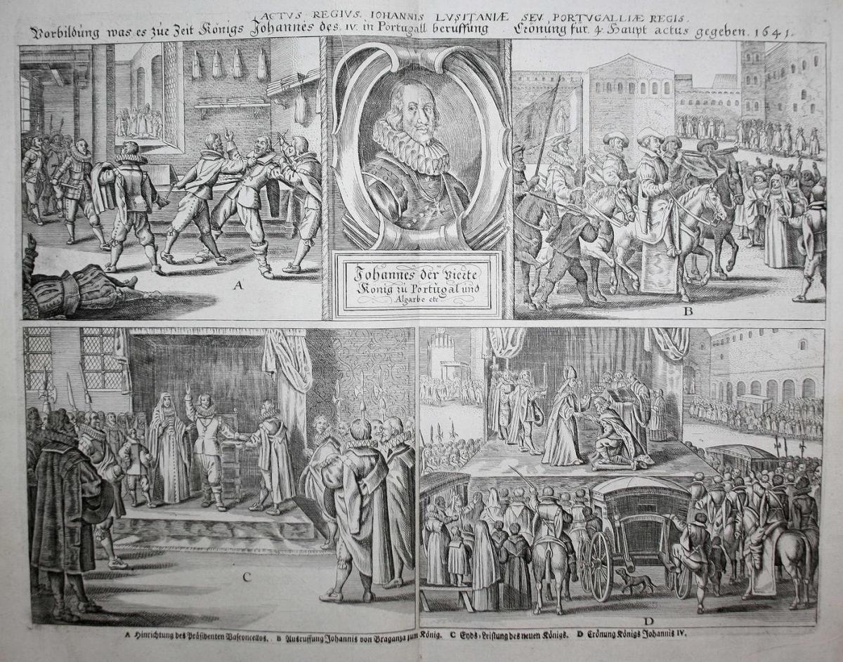 Vorbildung was es zur Zeit Königs Johannes des IV in Portugall beruffung Crönung für 4 Haupt actus gegeben 164 0