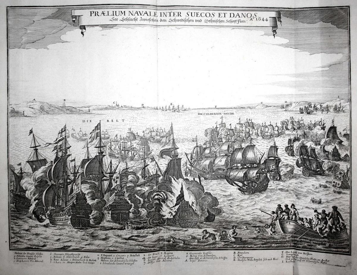 Praelium Navale Inter Suecos et Danos - Kiel Kieler Bucht Seeschlacht Schweden Dänemark Stadtsilhouette Kupfer 0