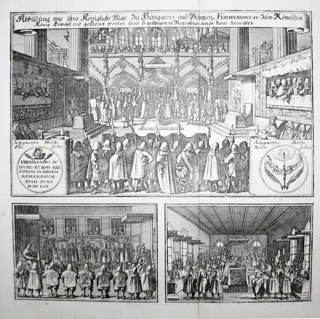 Abbildung wie ihro Königliche May. zu Hungaren und Böhmen Ferdinandvs IV zum Römischen König erwehlt . Regensp 0