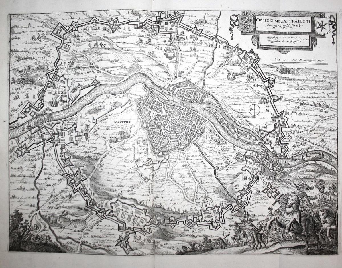 Obsidio Mosae-traiecti. Belagerung Mastrich - Maastricht Niederlande Belagerung siege Schlacht battle Karte ma 0
