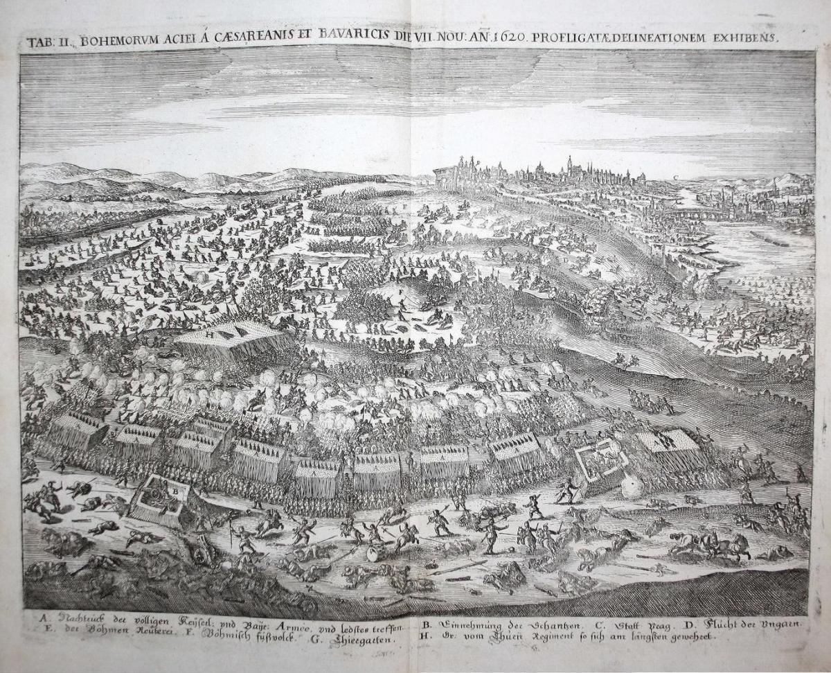 TAB. II. Bohemorum Aciei A Caesareanis Et Bavaricis Die VII. Nov. Anno 1620. Profligatae Delineationem Exhiben 0
