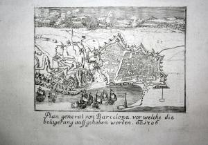 Plan general von Barcelona vor welche die belagerung auff gehoben worden anno 1706 - Barcelona Plan Karte map