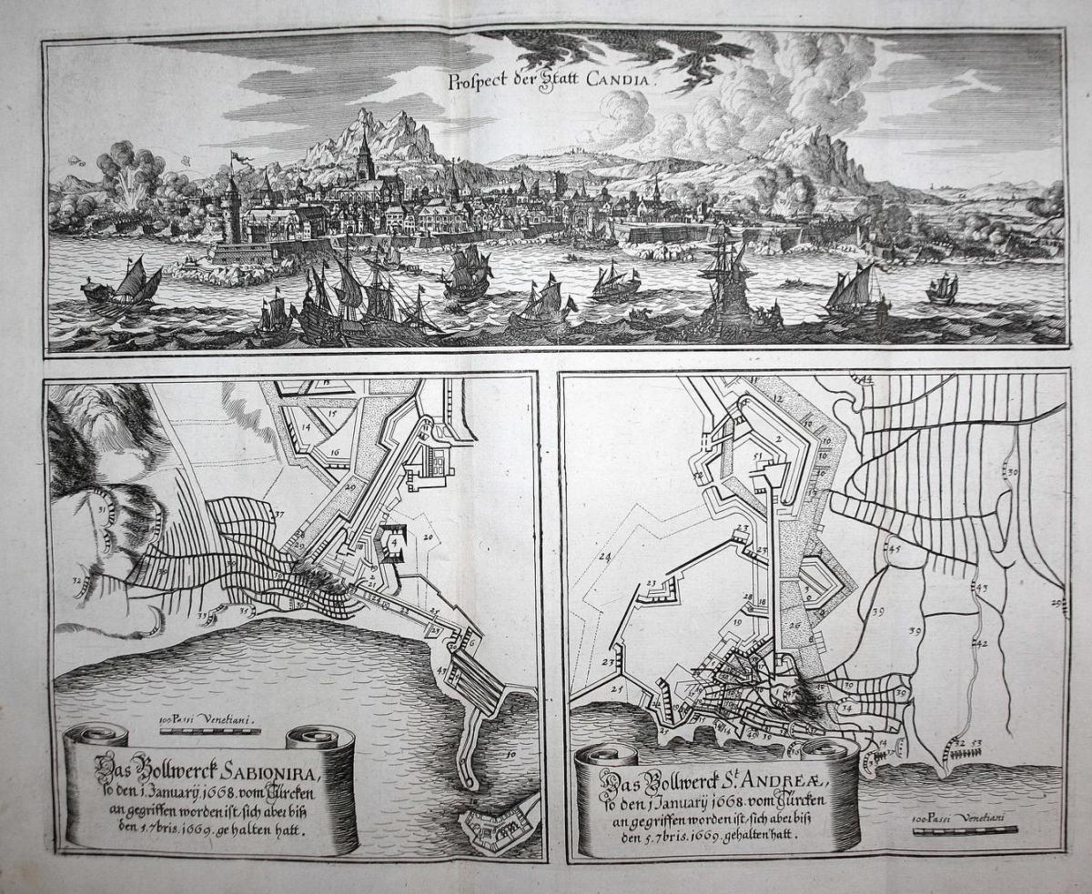 Prospect der Statt Candia - Iraklio Kreta Greece battle Griechenland Ansicht view Kupferstich antique print 0