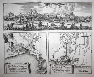 Prospect der Statt Candia - Iraklio Kreta Greece battle Griechenland Ansicht view Kupferstich antique print