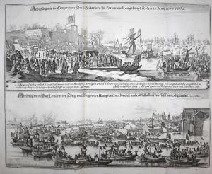 Abbildung wie die Königin von Gross Britanien, zu Portsmouth angelangt ist den 25 May Anno 1662 | Abbildung wi