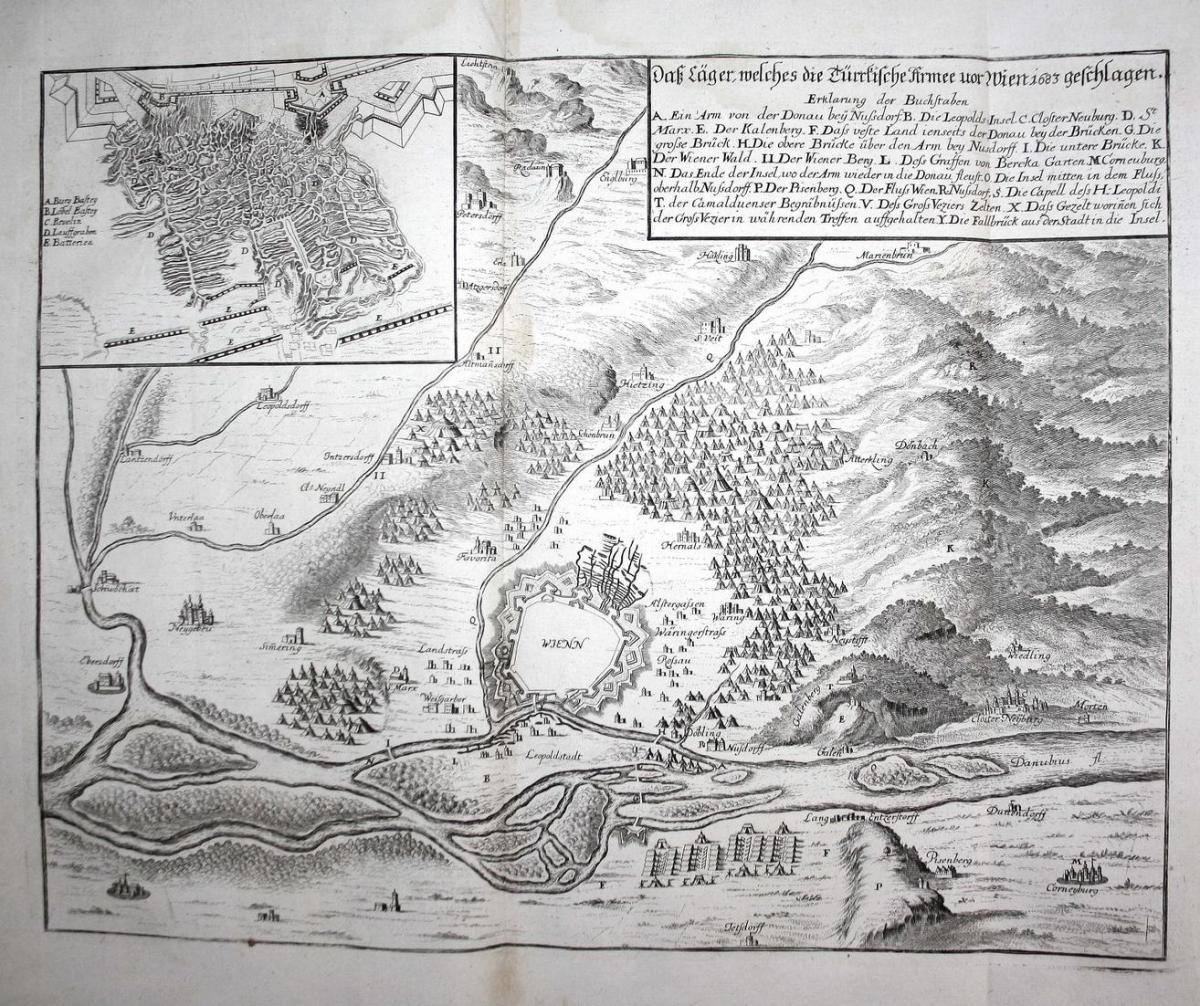 Daß Läger, welches die Türkische Armee vor Wien 1683 geschlagen - Wien Türkenkriege Türken plan Ansicht Kupfer 0