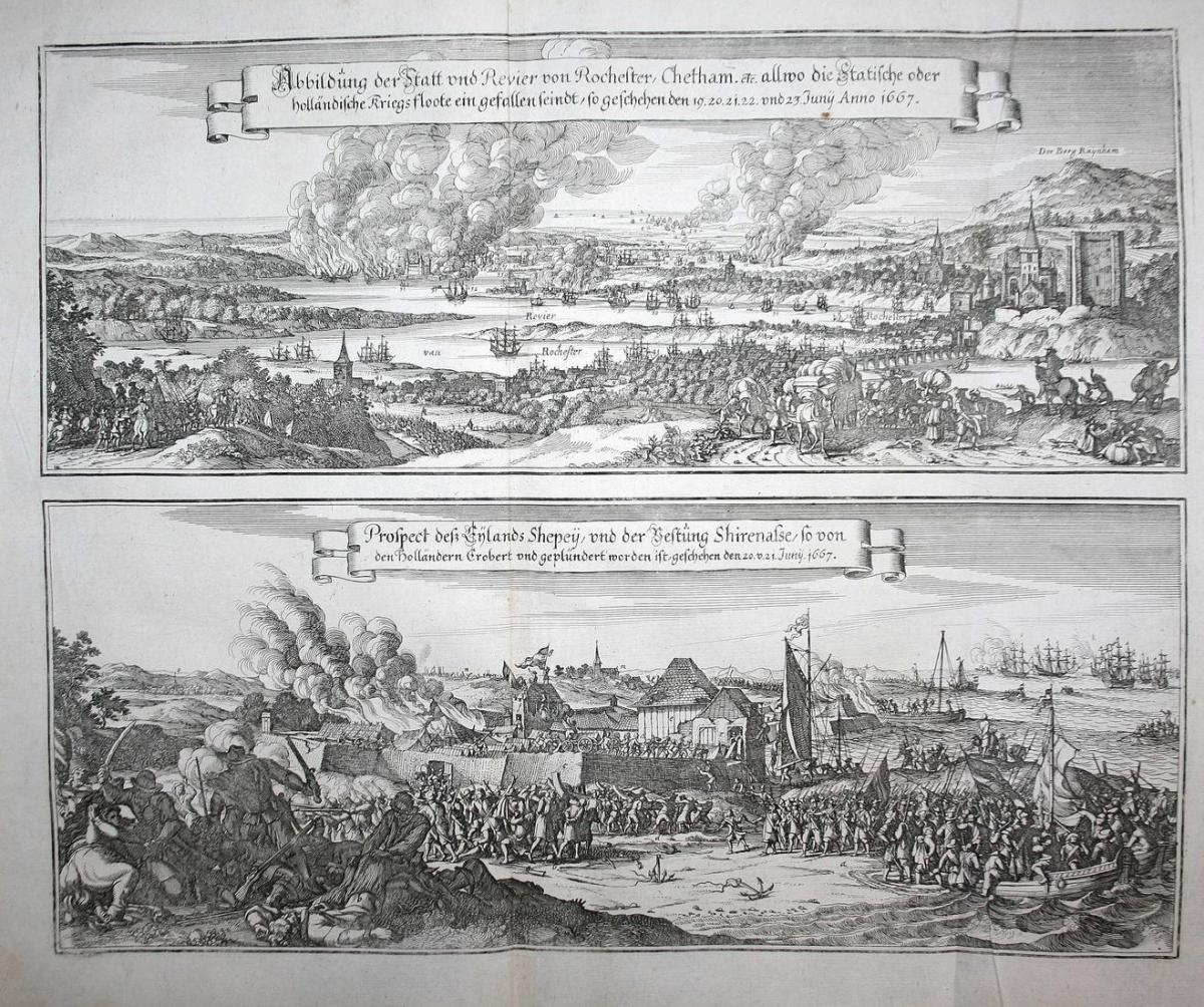 Abbildung der Statt und Revier Rochester, Chetham etc. allwo die Statische oder holländische Kriegsfloote ein 0