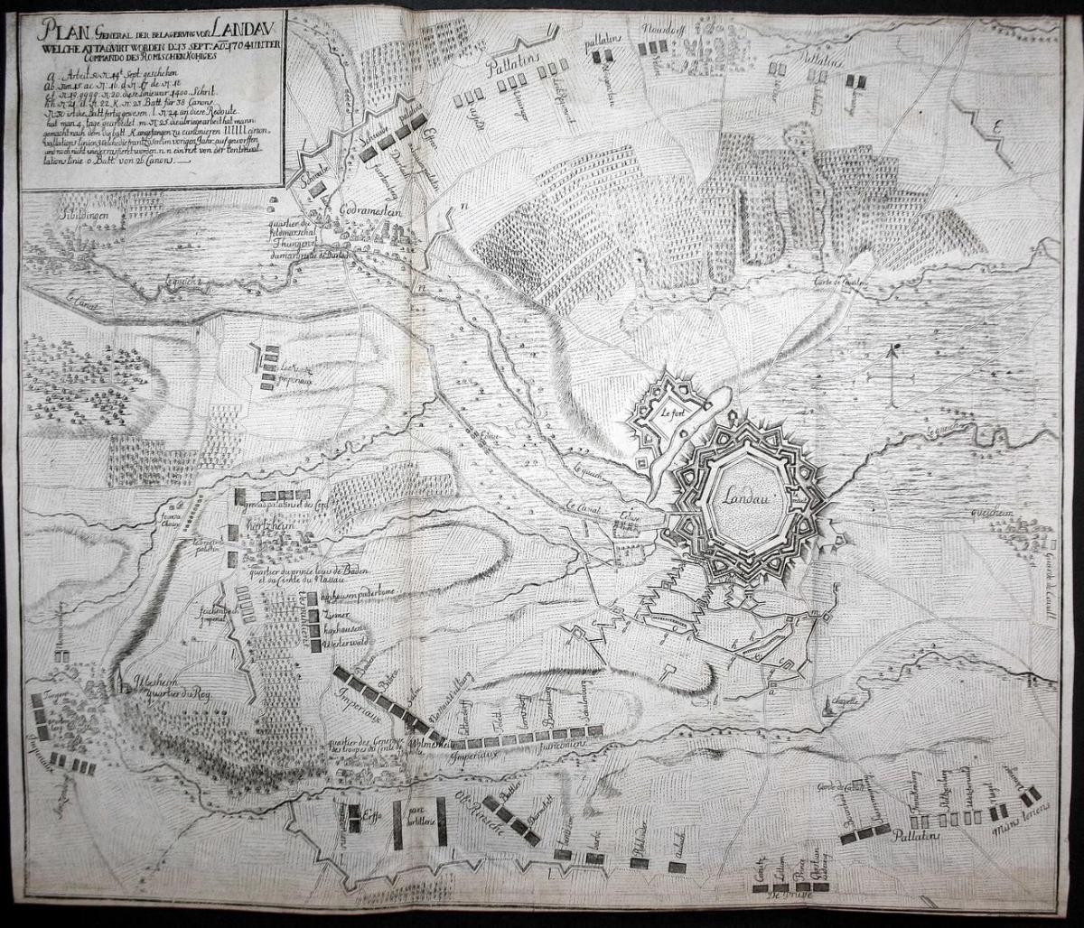 Plan General der Belagerung von Landau welche attaquirt worden . 1704 - Landau Belagerung Schlacht Karte map K 0