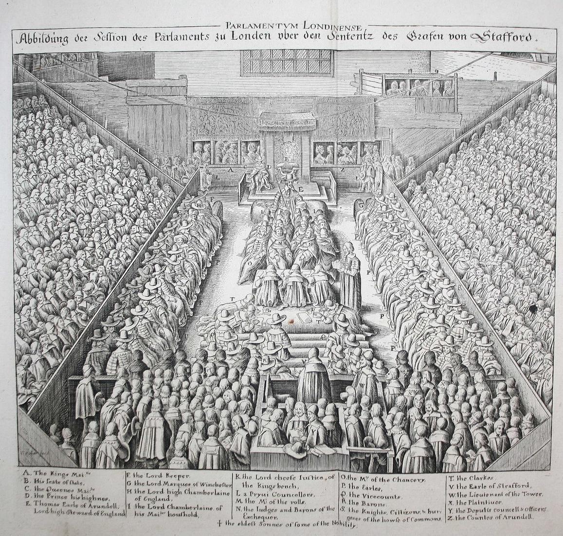 Abbildung der Session des Parlaments zu London über den Sententz des Grafen von Stafford.° 0