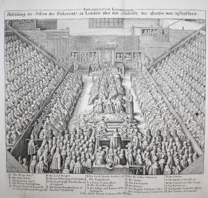 Abbildung der Session des Parlaments zu London über den Sententz des Grafen von Stafford.°