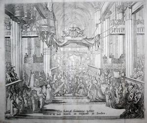 Der königliche Krönungs - Actus William III und Marial in England, zu London.