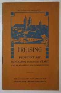 Freising. Prospekt mit Rundgang durch die Stadt und Planskizze der Spazierwege.