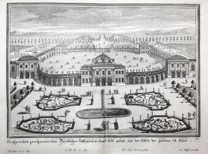 Prospect und perspectiv eines herrlichen Lustgartens samt den gebau von der seiten des gartens zu sehen. -- Lu