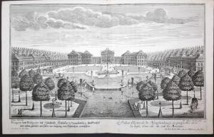 Prospect und Perspectiv deß Churfürstl. Schlosses zu Nymphenburg, samt Vorhof und neben Gebäude, wie selbes am