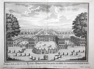 Prospect und Perspectiv eines herrlichen Lustgebau samt den garten, wie solches zu Eingang und seiten des Hofs