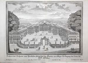 Prospect und Perspectiv eines herrlichen Gebau samt dem Garten, wie selbiger zu Eingang und Seiten des Hofs an