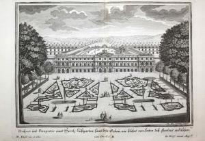 Prospect und Perspectiv eines herrlichen Lustgarten, samt den Bebau, wie solches von Seiten deß Gartens anzuse