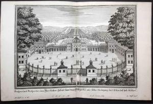 Prospect und perspectiv eines herrlichen Gebau samt den Lustgarten, wie selbes zu eingang und seiten des Hofs