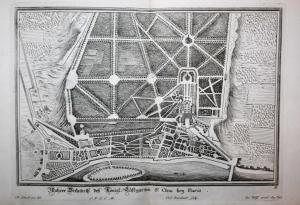 Wahrer Grundriß deß Königl. Lustgarten St. Clou bey Paris. -- Paris Saint-Cloud Garden jardin Schloß  Gartenar