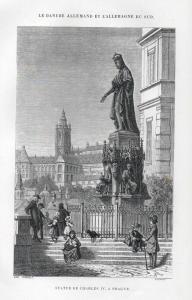 Statue de Charles IV, a Prague. - Charles IV Monument Prague Prag Praha Ansicht view Holzstich woodcut