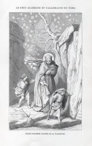 Sainte Elisabeth chassee de la Wartbourg - Elisabeth von Thüringen Wartburg Burg castle Holzstich woodcut