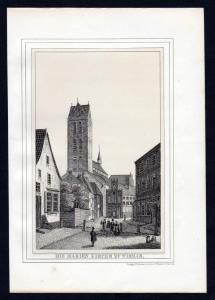 Wismar Marienkirche - Mecklenburg Lithographie Ansicht.