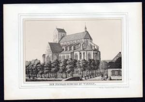 Wismar Nikolaikirche - Mecklenburg Lithographie Ansicht.