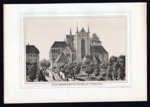 Wismar Georgenkirche - Mecklenburg Lithographie Ansicht.