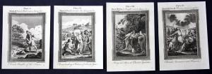 Vier original Kupferstiche aus dem 18 Jh. zum Buch Markus (Bibel)