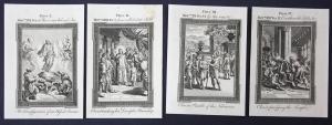 Vier original Kupferstiche aus dem 18 Jh. zum Buch Matthäus (Bibel)