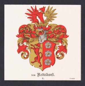 . von Nettelhorst Wappen Heraldik coat of arms heraldry Chromo Lithographie