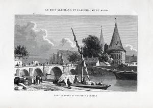 Pont et porte du Holstein a Lubeck - Brücke bridge Lübeck Ansicht view Holzstich woodcut