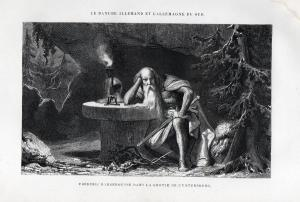Frederic Barberoussse dans la grotte de l'Untersberg - Friedrich I. Barbarossa Kaiser König king Holzstich woo