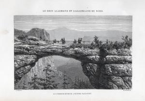Le Prebischthor (Suisse Saxonne) - Prebischtor Pravcická brána Brücke bridge Ansicht view Holzstich woodcut