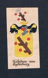 Uitzdum von Egersberg - Vitzthum von Eggersberg Böhmen Manuskript Wappen Adel coat of arms heraldry Heraldik