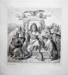 König Löwe Hase Bär Kuh Wolf Stahlstich steel engraving Reineke Fuchs Goethe