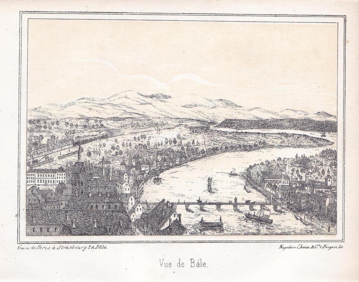 Vue de Bale - Basel Bale Schweiz Suisse Lithographie lithograph Ansicht view vue 0