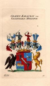 Grafen Karaczay Valleszaka-Moldava Wappen Kupferstich Genealogie crest