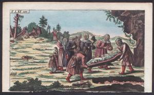 T. LXI. 142. - Lappland Lapland Beerdigung funeral Kupferstich copper engraving antique print