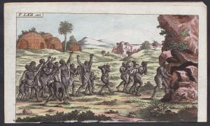 T. LXII. 143. - South Africa Südafrika Hottentotten Begräbnis funeral Kupferstich copper engraving antique pri