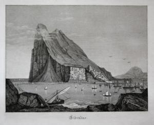 Gibraltar - Gibraltar Ansicht view Stahlstich steel engraving antique print