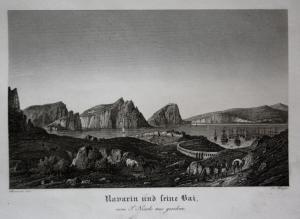 Navarin und seine Bai vom S. Nicole aus gesehen. - Khelonesi Greece Griechenland Insel island Stahlstich steel