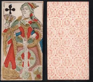 (Kreuz Königin) - Original 18th century playing card from Liege (by Dubois) / carte a jouer / Spielkarte - Tar