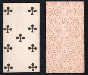 (Kreuz 9) - Original 18th century playing card from Liege (by Dubois) / carte a jouer / Spielkarte - Tarot
