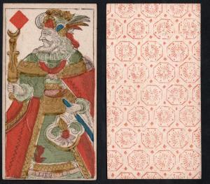 (Karo König) - Original 18th century playing card from Liege (by Dubois) / carte a jouer / Spielkarte - Tarot