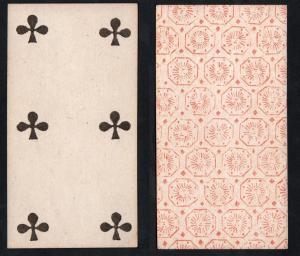 (Kreuz 6) - Original 18th century playing card from Liege (by Dubois) / carte a jouer / Spielkarte - Tarot