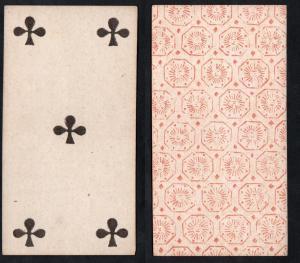 (Kreuz 5) - Original 18th century playing card from Liege (by Dubois) / carte a jouer / Spielkarte - Tarot
