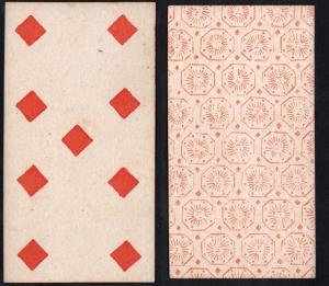 (Karo 9) - Original 18th century playing card from Liege (by Dubois) / carte a jouer / Spielkarte - Tarot