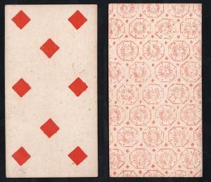 (Karo 8) - Original 18th century playing card from Liege (by Dubois) / carte a jouer / Spielkarte - Tarot