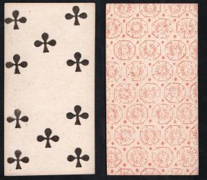 (Kreuz 10) - Original 18th century playing card from Liege (by Dubois) / carte a jouer / Spielkarte - Tarot